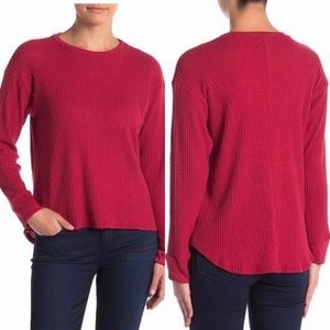 Project Social T red cranberry waffle knit top